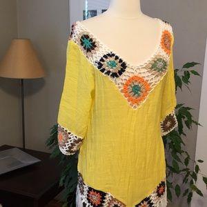 Tops - Boohoo Yellow Granny Square Crochet Festival Tunic
